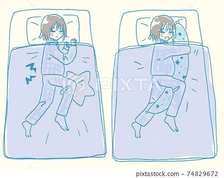 Pregnant woman who has a backache even when sleeping in Sims' position 74829672