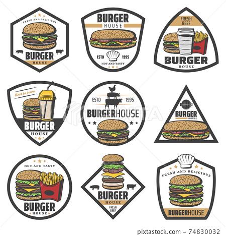 Vintage Colored Burger Labels Set 74830032