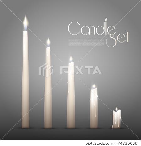 Aromatic Burning Candles Animation Set 74830069