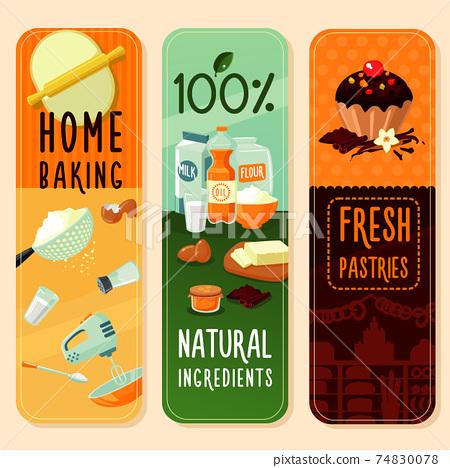 Baking Ingredients Vertical Banners 74830078