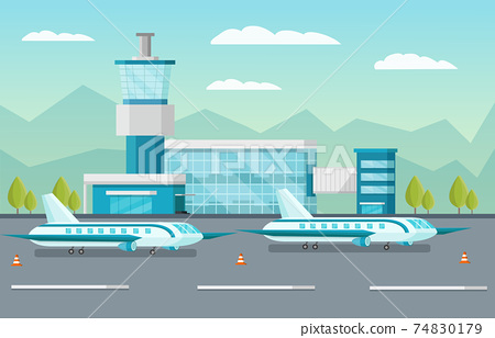 Airport Orthogonal Illustration 74830179