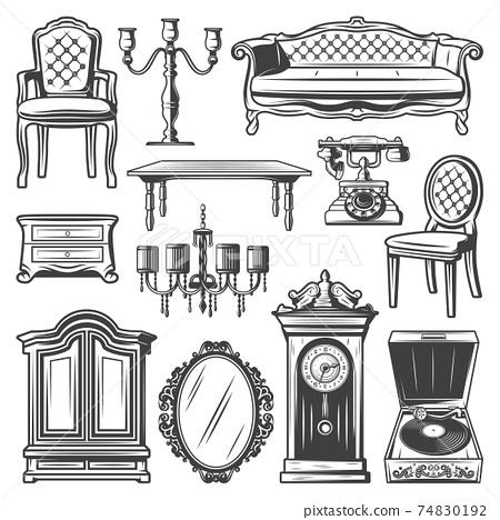 Vintage Furniture Elements Set 74830192