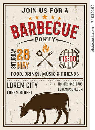 Barbecue Party Retro Style Poster 74830199