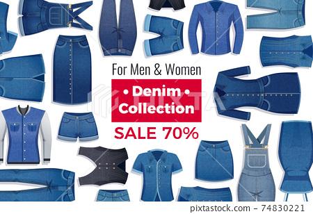 Denim Clothing Sale Advertising Illustration 74830221