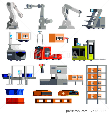 Automated Warehouse Equipment Flat Icons 74830227