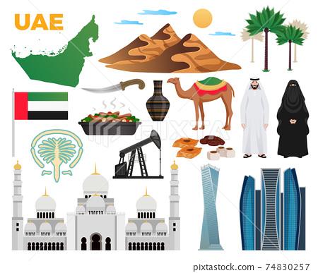 UAE Travel Icons Set 74830257