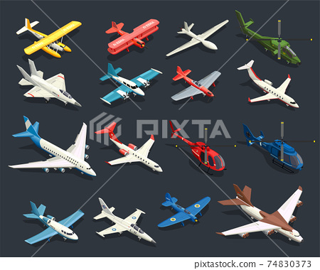 Airplanes Helicopters Isometric Icons 74830373