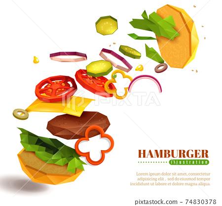 3D Flying Hamburger Illustration 74830378