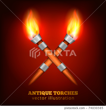 Antique Torches Realistic Background 74830385