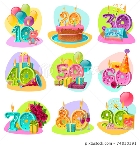 Anniversary Candle Numbers Retro Set 74830391