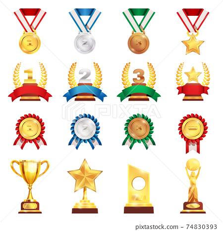 Award Trophy Medal Realistic Set 74830393