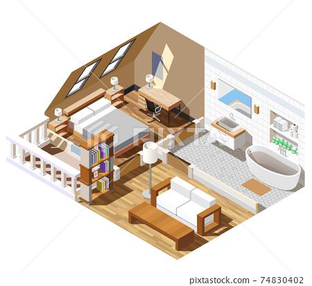 Apartment Interior Isometric Composition 74830402