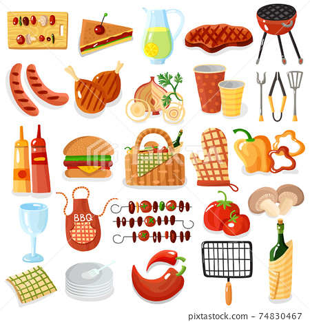 Barbecue Accessories Stylish Icons Collection 74830467