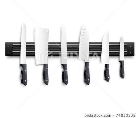 Knives On Magnetic Strip 3D Illustration 74830538