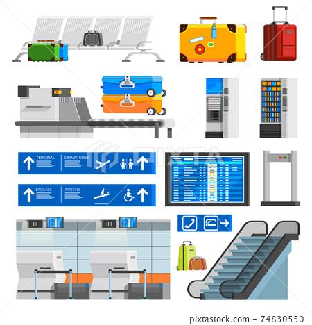 Airport Interior Flat Color Decorative Icons Set 74830550