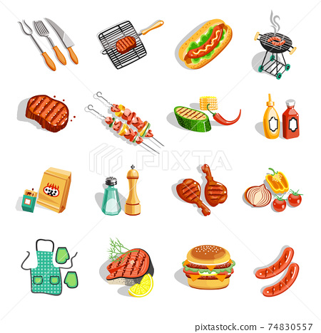 Barbecue Food Accessories Flat Icons Set 74830557