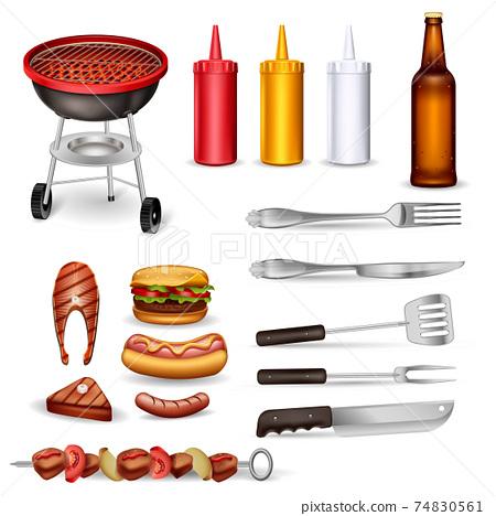 Barbecue Decorative Icons Set 74830561