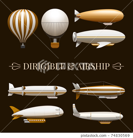 Balloon And Airship Icons Set 74830569