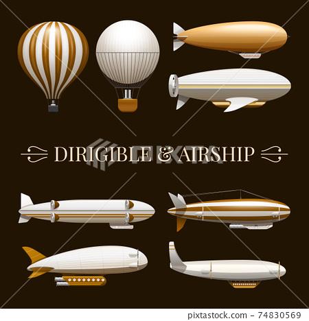 Balloon And Airship Icons Set 74830569