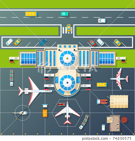 Airport Parking Top View Flat Image 74830575