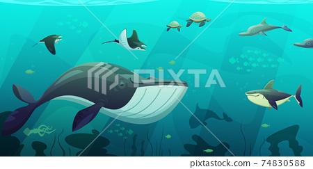 Underwater Marine Ocean Life Abstract Banner 74830588