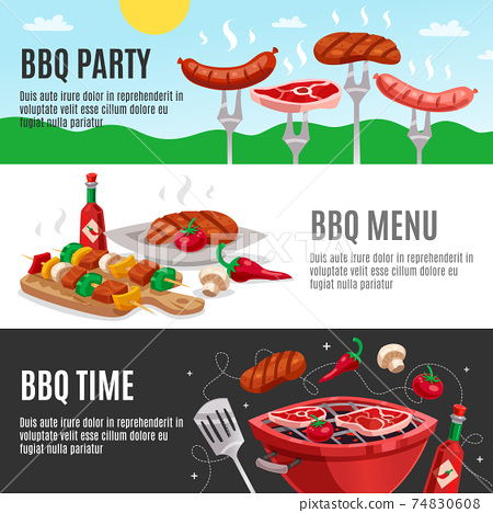 Barbecue Menu Banners Set 74830608