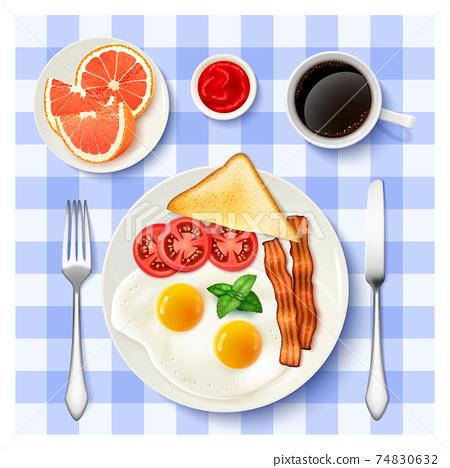 American Full Breakfast Top view Image 74830632