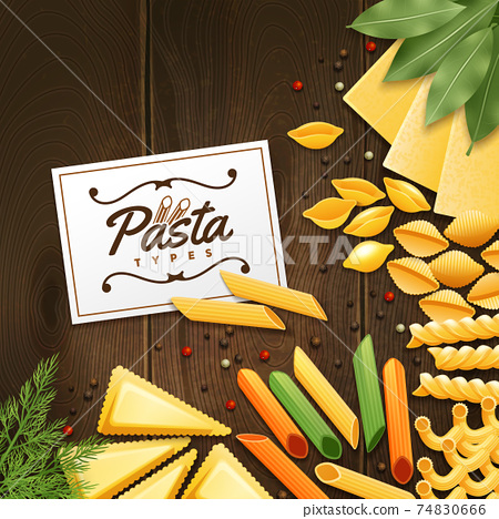 Background With Different Kinds Of Pasta 74830666