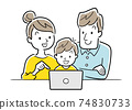 Illustration material: Family using a computer or tablet 74830733