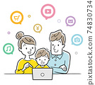Illustration material: Family using a computer or tablet 74830734