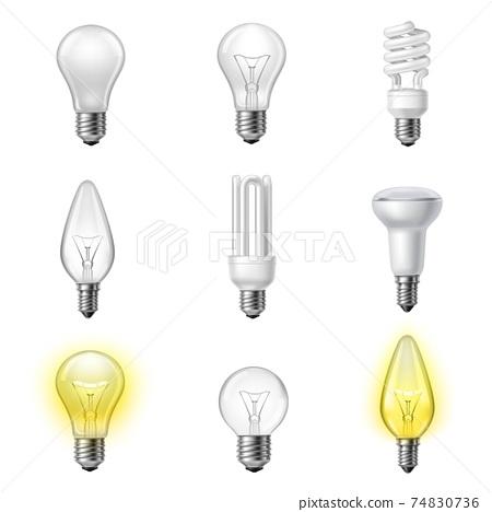 Various types realistic lightbulbs set 74830736