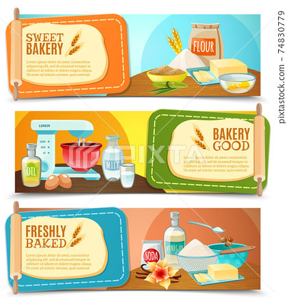 Baking Ingredients Horizontal Banners 74830779