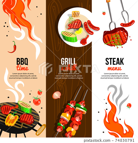 Barbecue Party 3 Vertical Banners Set 74830791