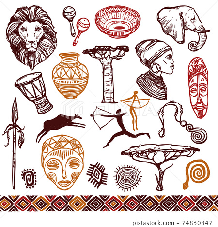Africa Doodle Set 74830847