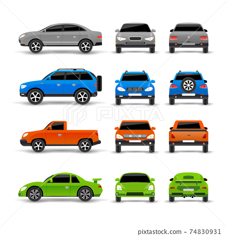 Cars Side Front And Back Icons Set 74830931