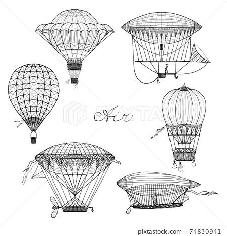 Balloon And Airship Doodle Set 74830941