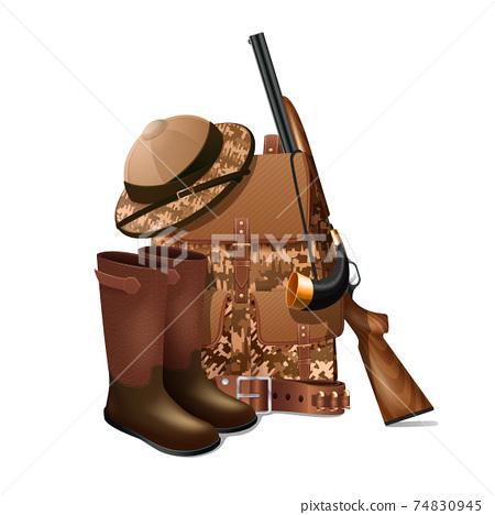 Hunting equipment retro icon 74830945
