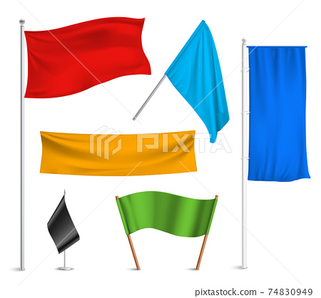 Colored flags banners icons composition 74830949