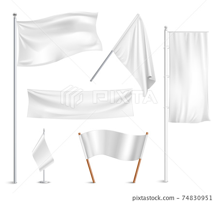 White flags pictograms collection 74830951