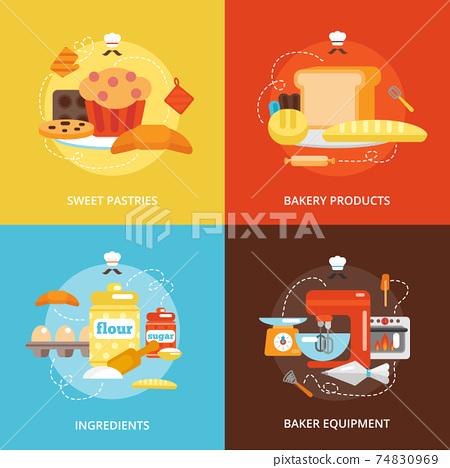 Bakery flat icons set 74830969