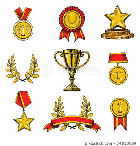 Award icons set colored 74830984