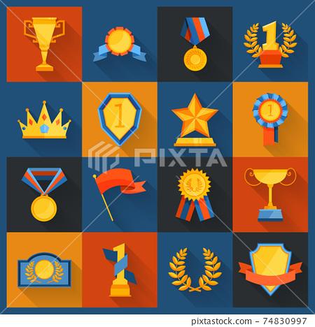 Award icons set flat 74830997