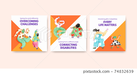 Advertise template with world down syndrome day concept design for marketing watercolor illustration 74832639