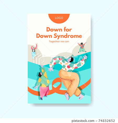 Poster template with world down syndrome day concept design for advertise and marketing watercolor illustration 74832652