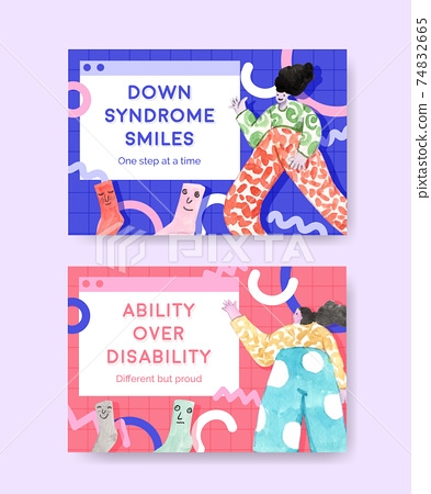 Facebook template with world down syndrome day concept design for social media and community watercolor illustration 74832665