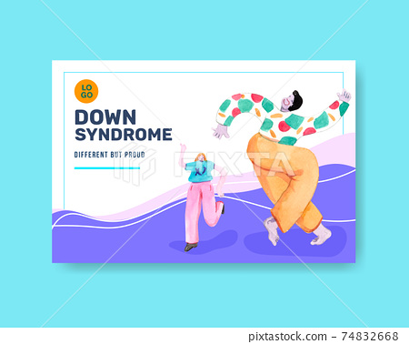 Facebook template with world down syndrome day concept design for social media and community watercolor illustration 74832668