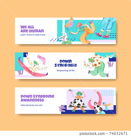 Banner template with world down syndrome day concept design for advertise and marketing watercolor illustration 74832671