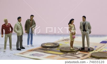 돈있는 남자와 결혼하고 싶은 젊고 예쁜 야심 찬 여성과 저소득으로 인기없는 남자들 74833120