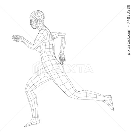 Wireframe running woman. Vector 74833589