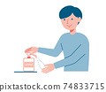 Illustration of a man doing alcohol disinfection 74833715